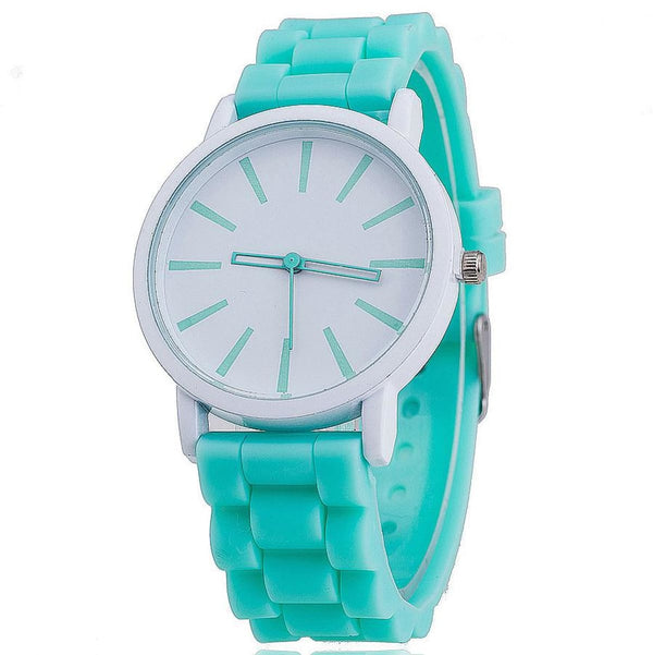 Womens Silicone Fashion Watch Hot Casual Quartz Watch - Relogio Feminino Montre Femme - Sale Mint Green Womens Watches