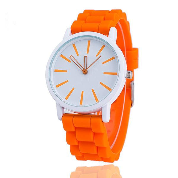 Womens Silicone Fashion Watch Hot Casual Quartz Watch - Relogio Feminino Montre Femme - Sale Orange Womens Watches