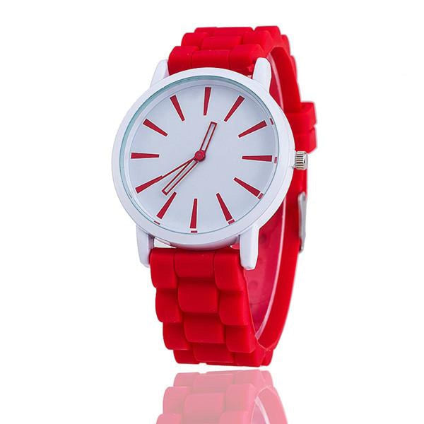 Womens Silicone Fashion Watch Hot Casual Quartz Watch - Relogio Feminino Montre Femme - Sale Red Womens Watches