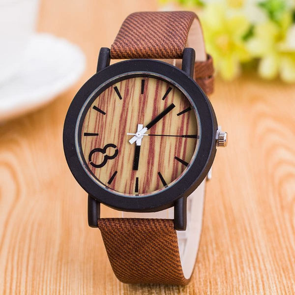 Wood Print Leather Quartz Watch 1 Light Brown Quartz Watches