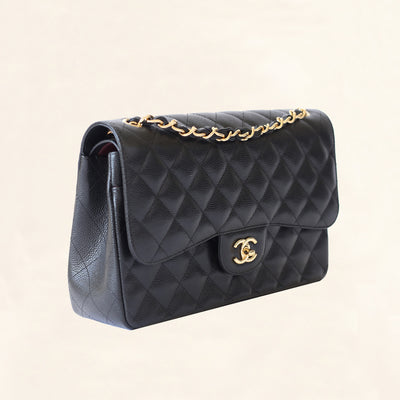 Chanel | Black Caviar Classic Double Flap with Gold Hardware | Jumbo - The-Collectory