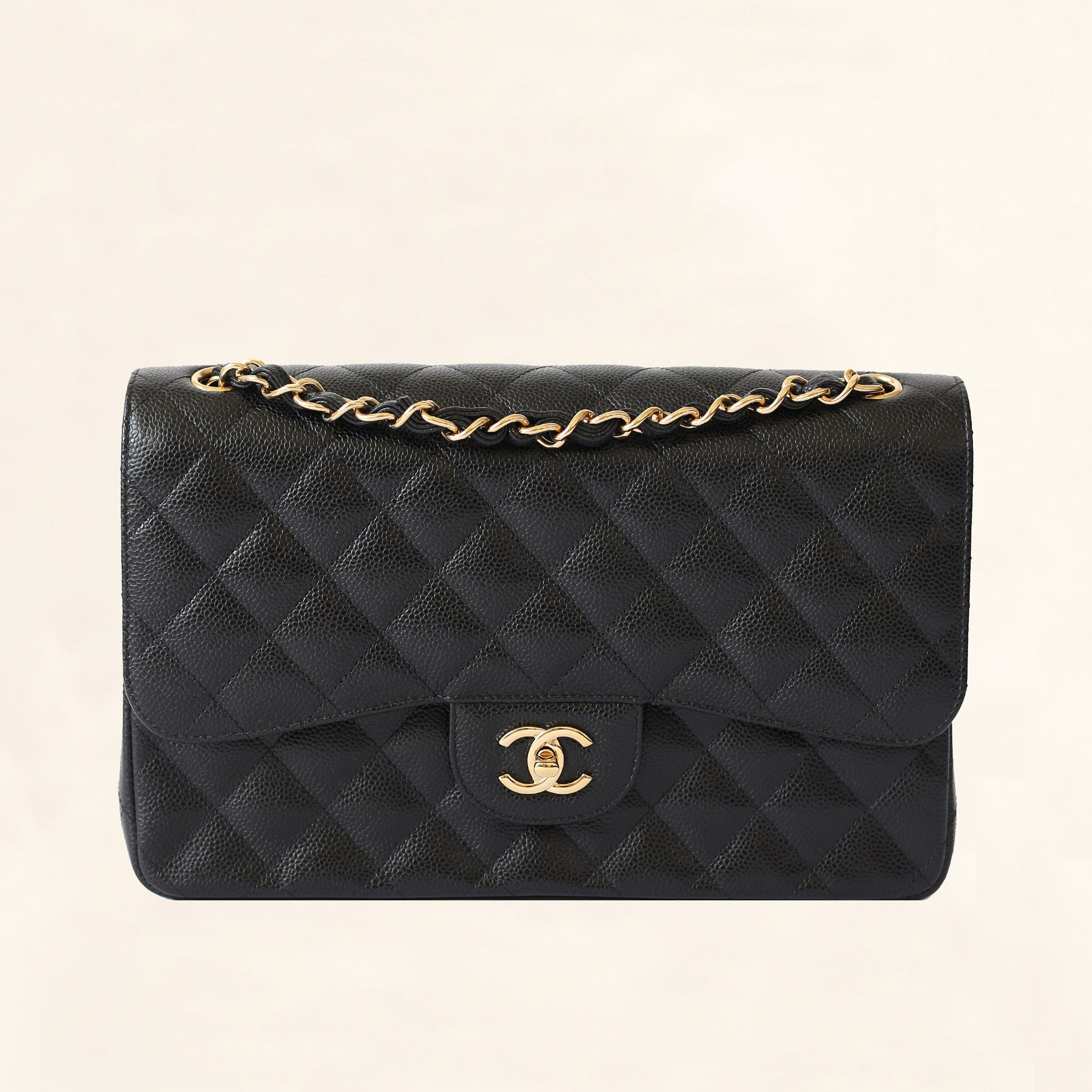 e581ac9aba426a Chanel | Black Caviar Classic Double Flap with Gold Hardware | Jumbo -  The-Collectory