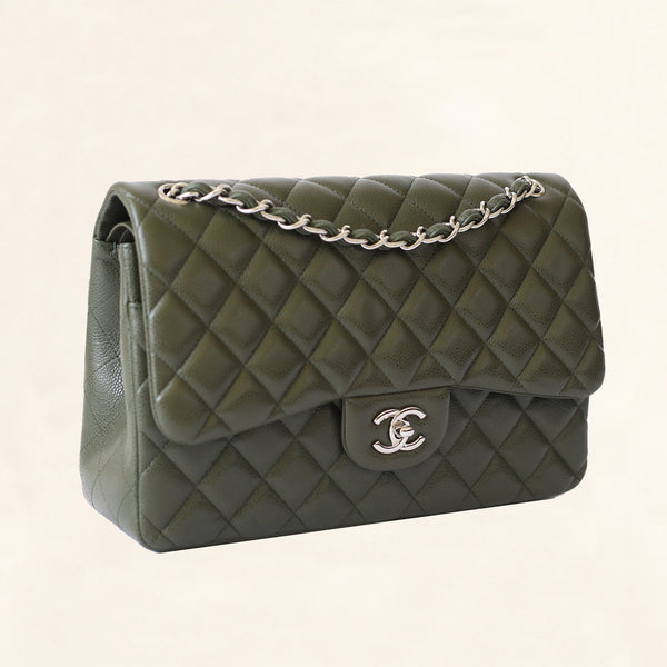 4cac18c8926b Chanel | Olive Green Calfskin Classic Double Flap | Jumbo - The-Collectory