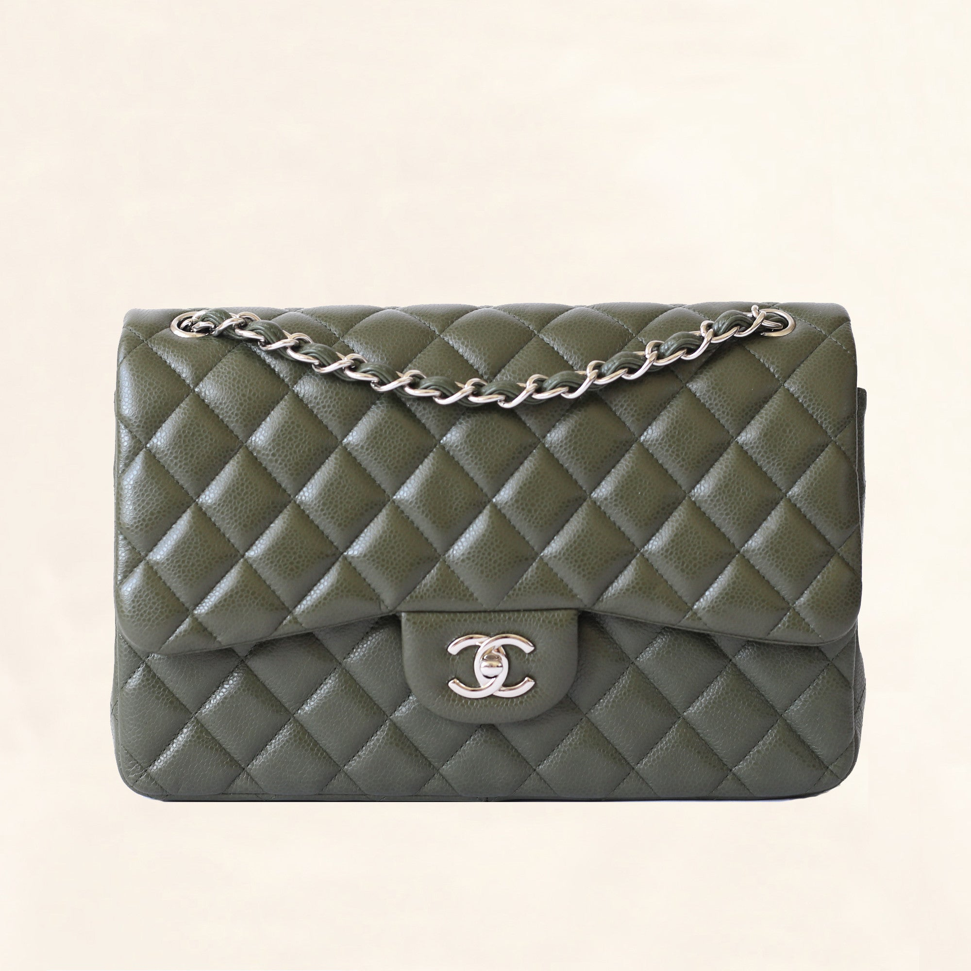 aaf3ac8ed2249f Chanel | Olive Green Calfskin Classic Double Flap | Jumbo - The-Collectory