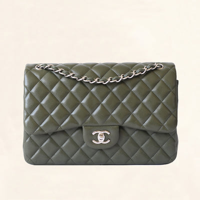 Chanel | Olive Green Calfskin Classic Double Flap | Jumbo - The-Collectory