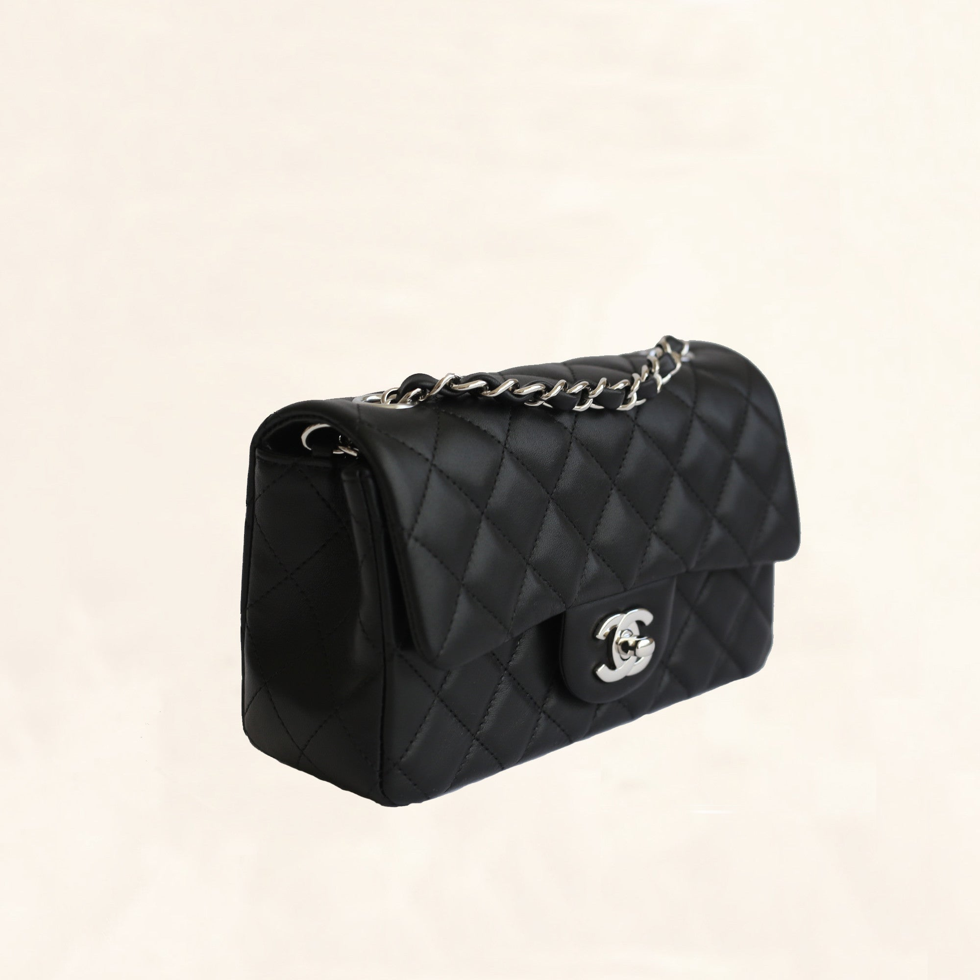fc2d91cb4b88 Chanel | Lambskin Classic Flap with Silver Hardware | Mini - The-Collectory