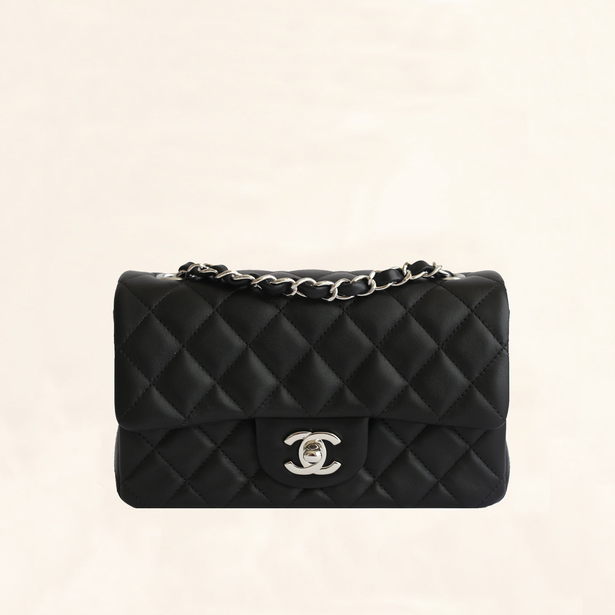 b03c90d49fae Chanel | Lambskin Classic Flap with Silver Hardware | Mini - The-Collectory