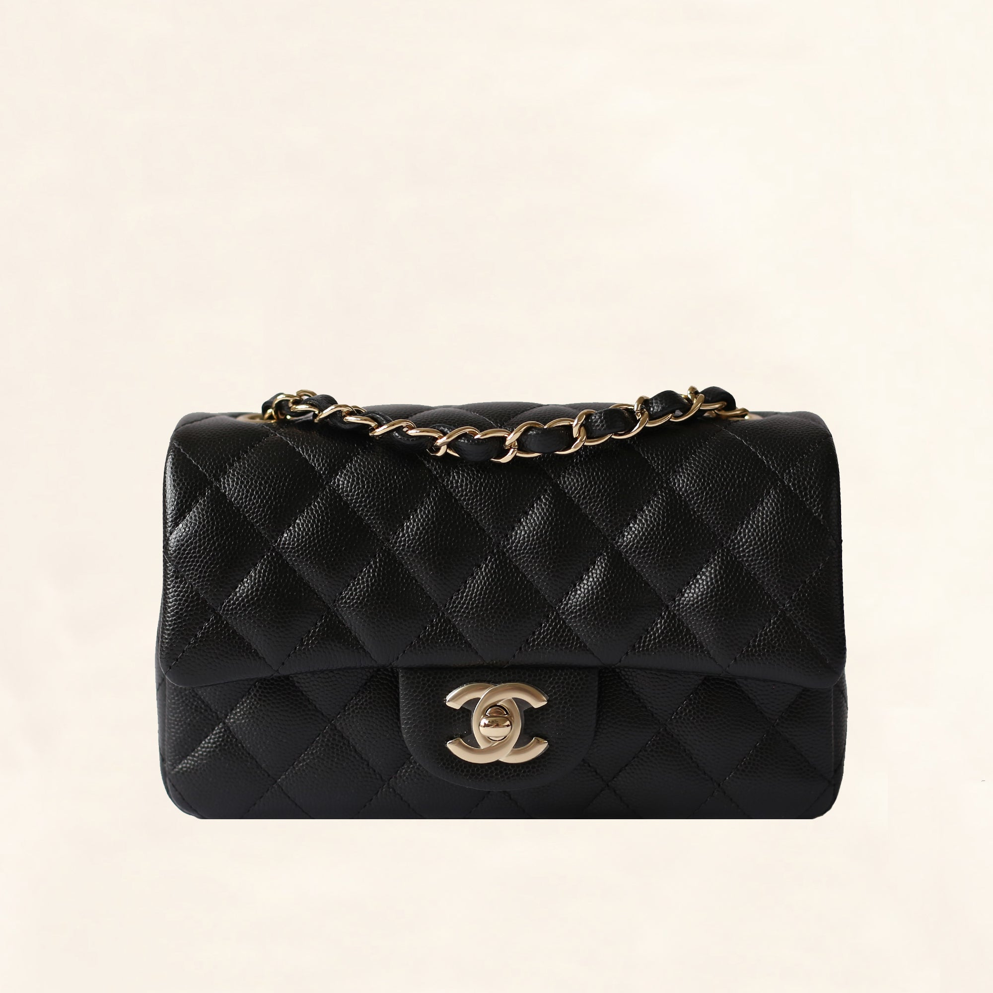 fea191b2a476 Chanel | Black Caviar Mini Rectangular Flap Bag with Light Gold Hardware -  The-Collectory
