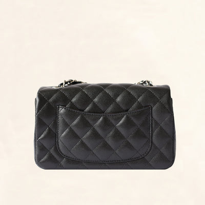 Chanel | Caviar Mini Rectangular Flap Bag | Black with Silver Hardware - The-Collectory