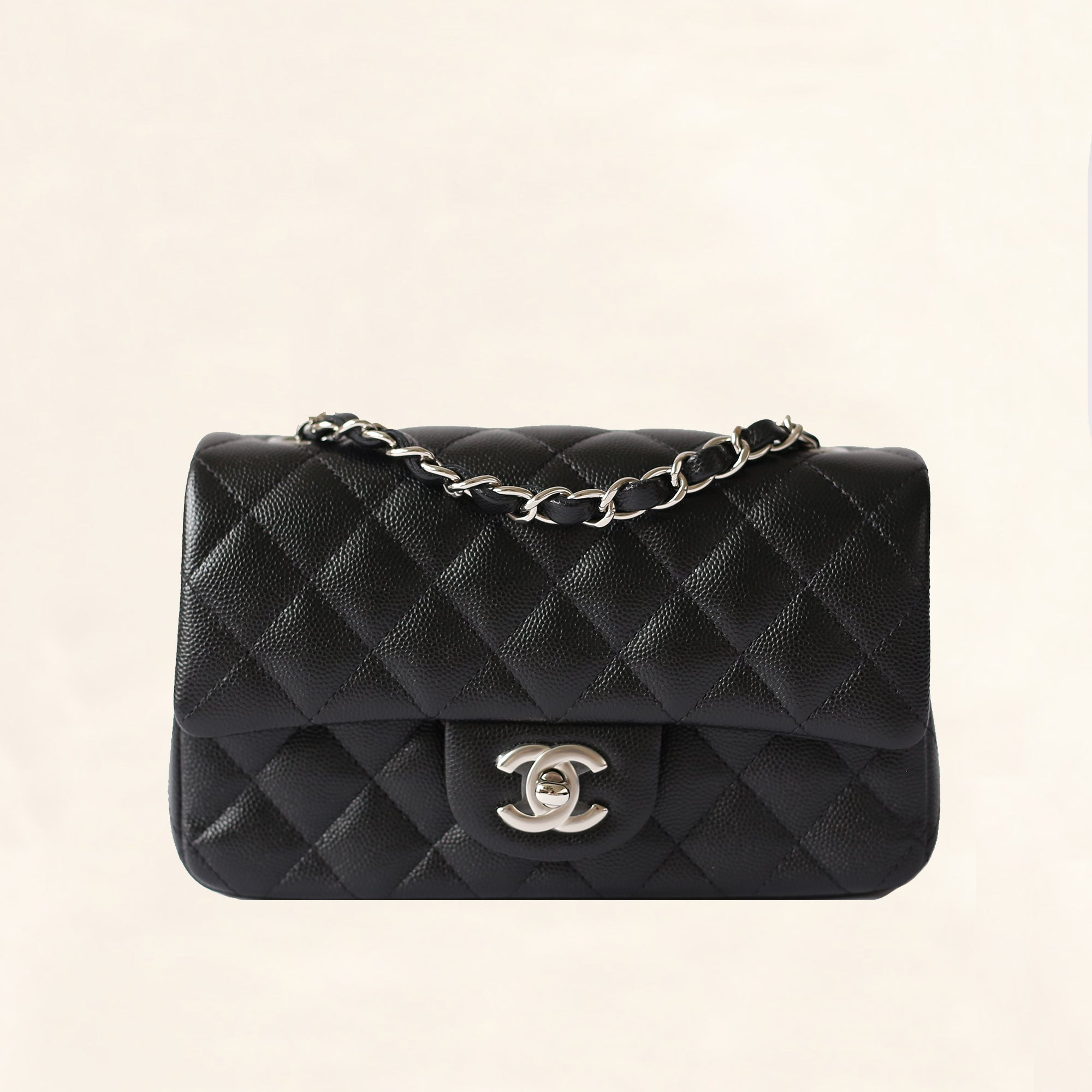 a1f21d287acc Chanel | Caviar Mini Rectangular Flap Bag | Black with Silver Hardware -  The-Collectory