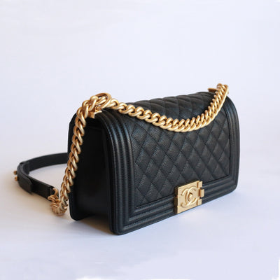 Chanel | Caviar Leather Boy Flap Bag  | Old Medium - The-Collectory