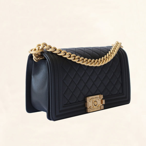 chanel | caviar boy bag with aged gold hardware | old medium - the