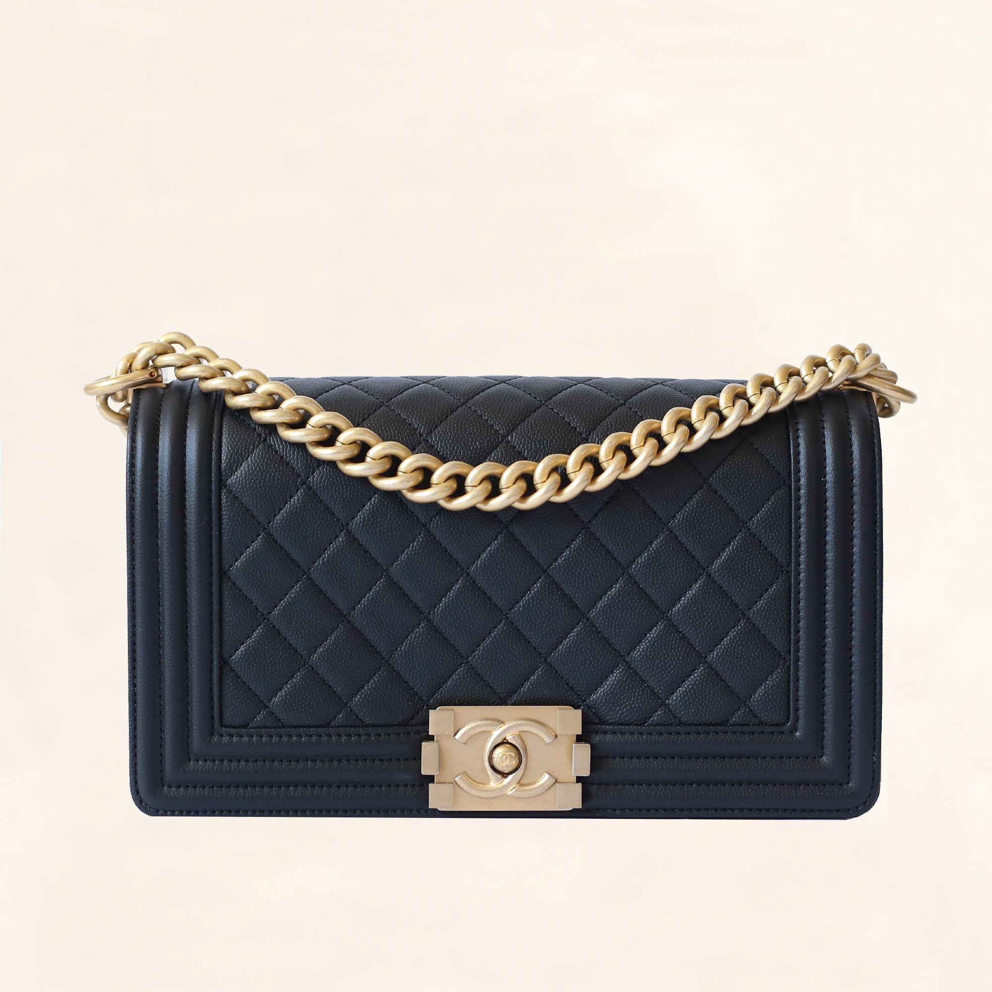 f399068f9102c3 Chanel | Caviar Boy Bag with Aged Gold Hardware | Old Medium - The -Collectory