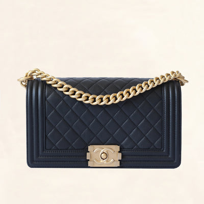 Chanel | Caviar Boy Bag with Aged Gold Hardware | Old Medium - The-Collectory