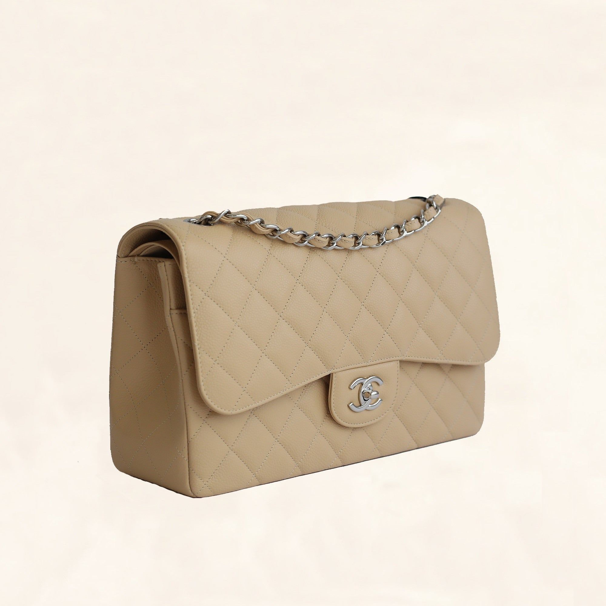 9cd0e6c231a2f4 Chanel | Beige Caviar Classic Double Flap Bag | Jumbo - The-Collectory