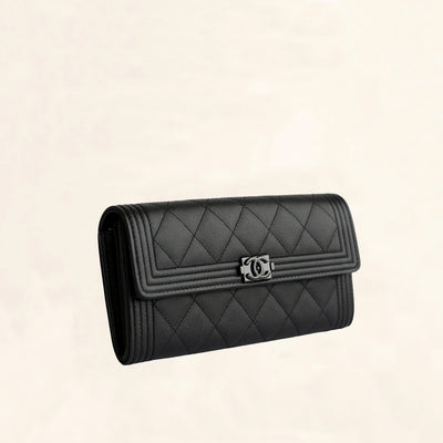 Chanel | So Black Caviar Boy Long Clip Wallet | Large - The-Collectory