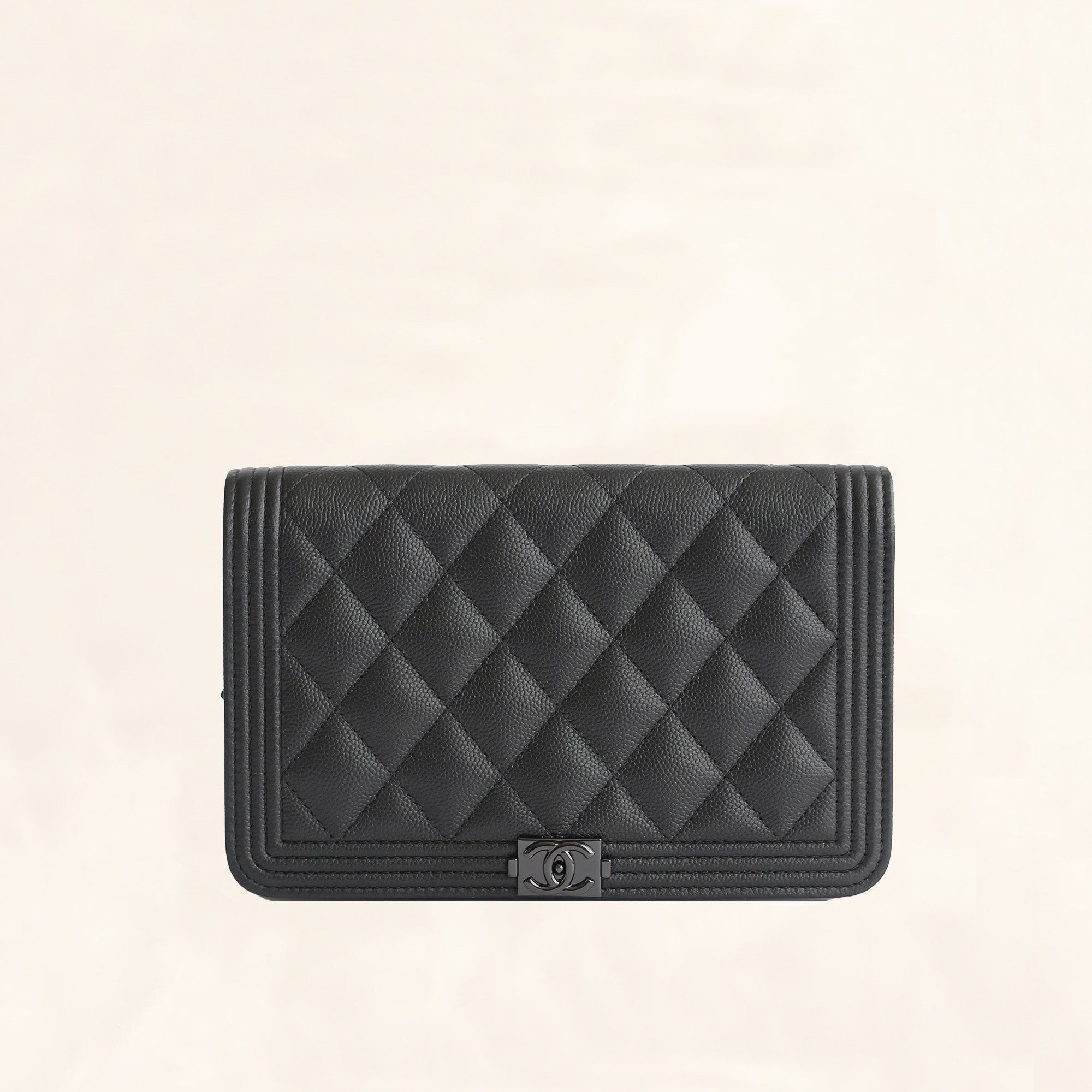98a974ab48198c Chanel | Calfskin So Black Boy Wallet on Chain | WOC - The-Collectory