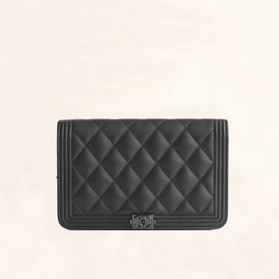 Chanel | Calfskin So Black Boy Wallet on Chain | WOC - The-Collectory