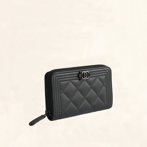 Chanel So Black Caviar Boy Zip Wallet Small Medium Tc Safe shipping and easy returns. the collectory