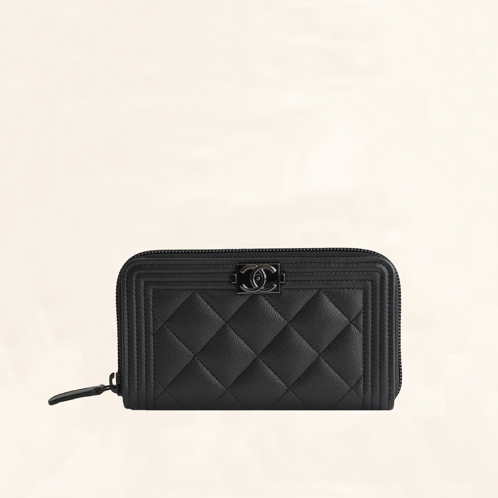 d1b6b3bae86c Chanel | So Black Caviar Boy Zip Wallet | Small/Medium - The-Collectory