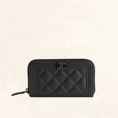 Chanel | So Black Caviar Boy Zip Wallet | Small/Medium - The-Collectory