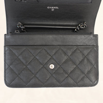 Chanel | Calfskin Classic So Black Wallet on Chain | WOC - The-Collectory