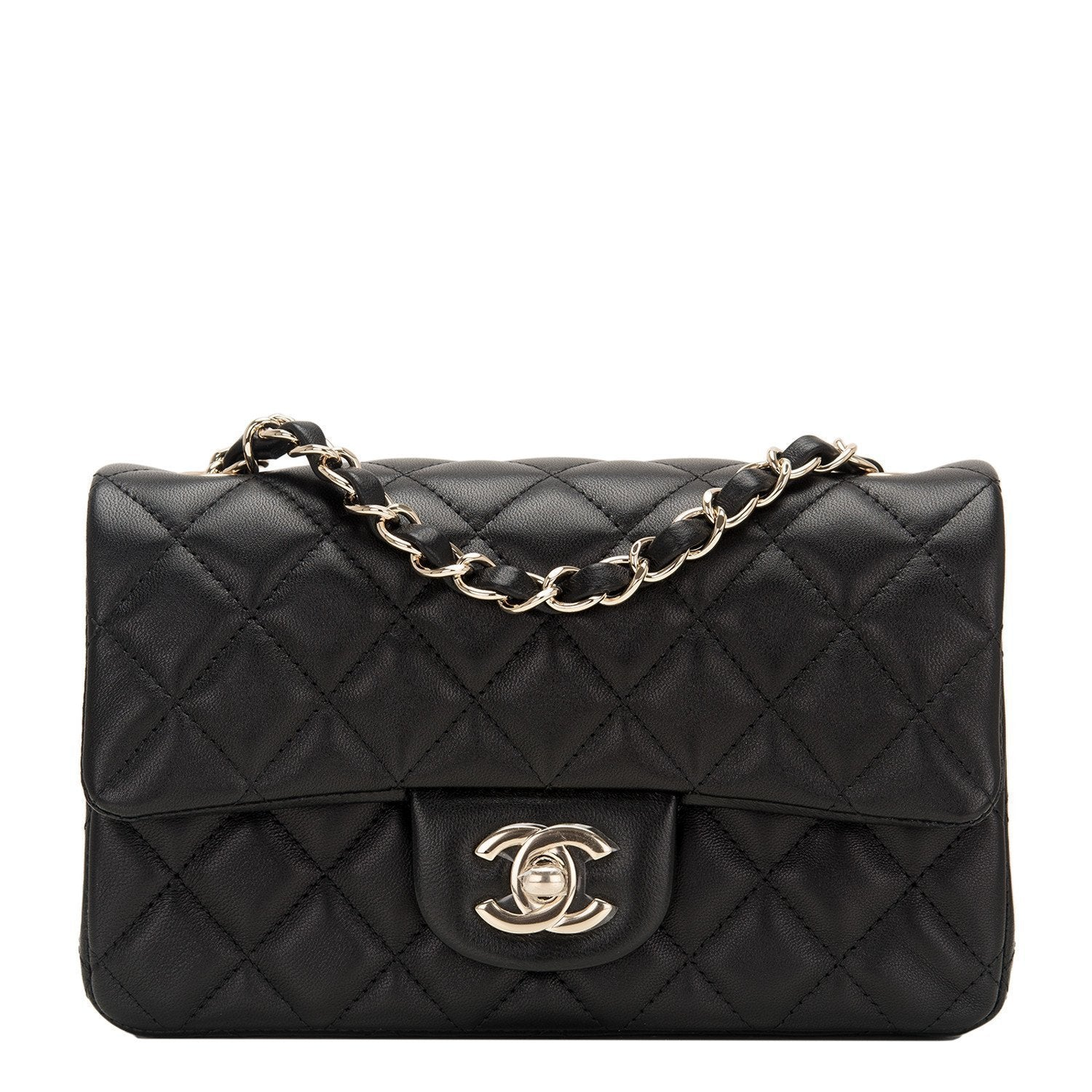 531185d88513f4 Chanel | Lambskin Mini Rectangular Classic Flap with Gold Hardware -  The-Collectory