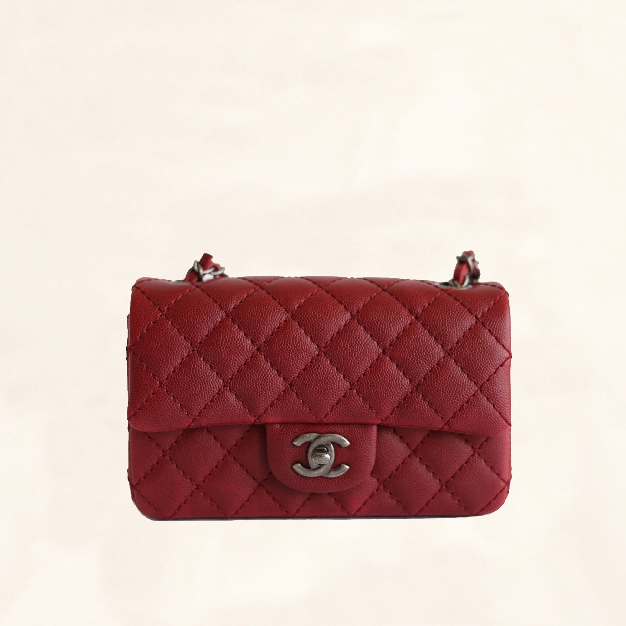 6bc2c288eee347 Chanel | Caviar Rectangular Classic Flap in Red | Mini - The-Collectory