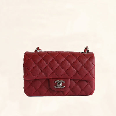 Chanel | Caviar Rectangular Classic Flap in Red | Mini - The-Collectory