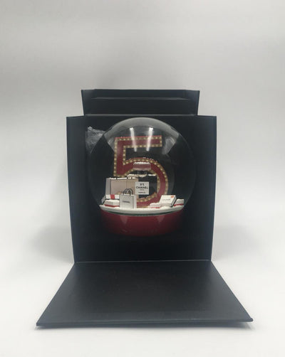 Chanel | Number 5 Perfume and Shopping Bag Red Snow Globe | Large - The-Collectory