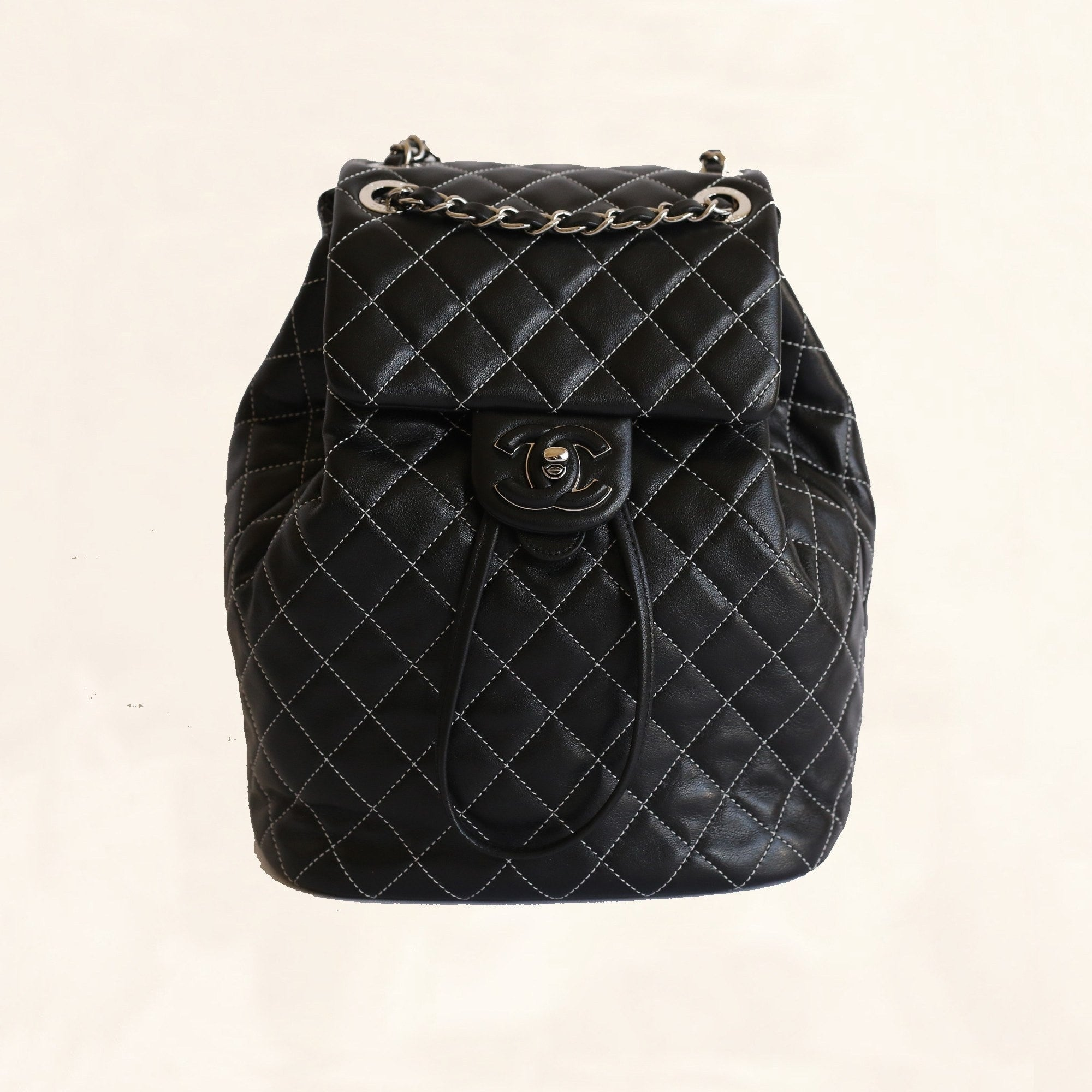 df27aa9cf59f41 Chanel | Lambskin Quilted-Stiched Backpack | Small - The-Collectory