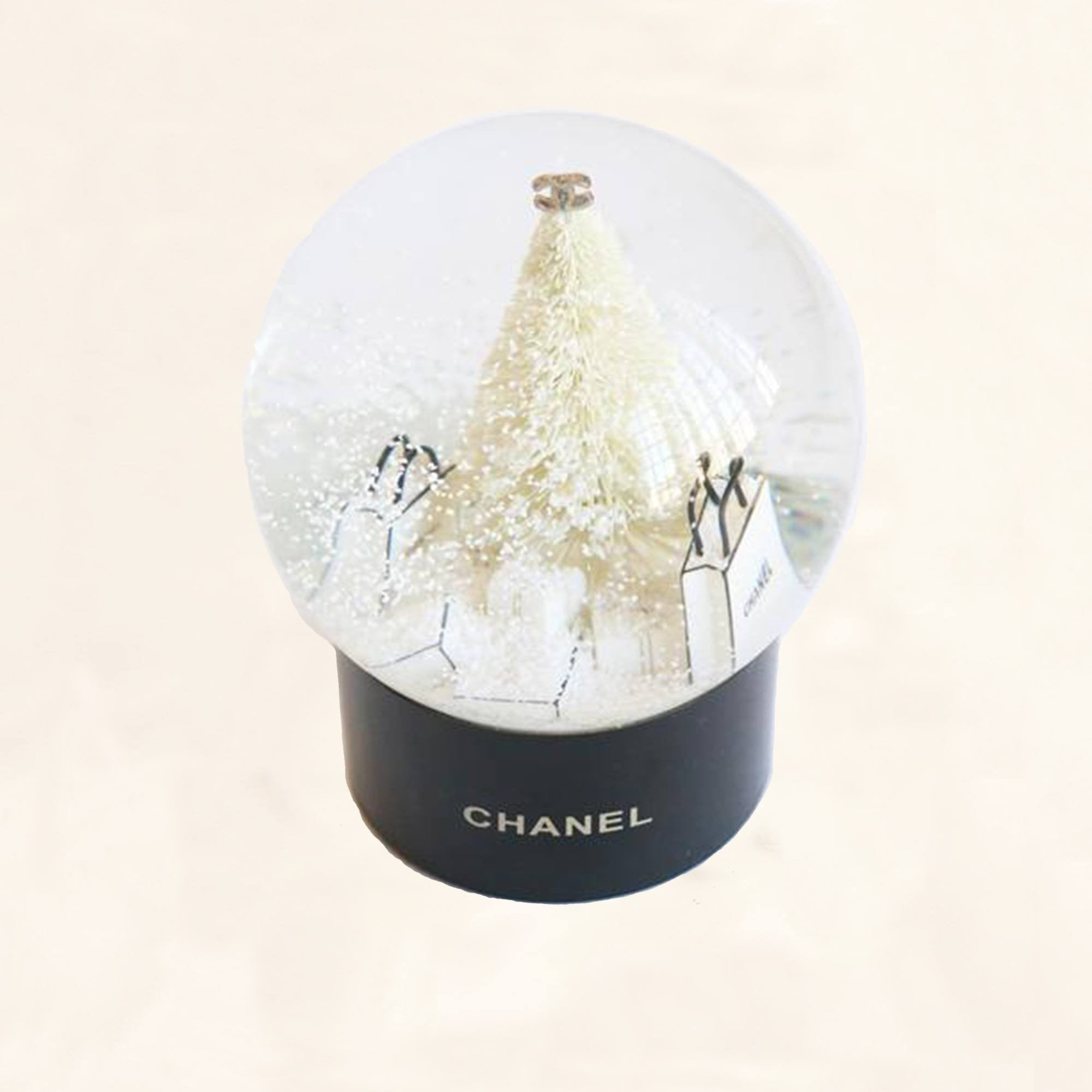 chanel snow globe christmas tree presents large the collectory - Large Christmas Snow Globes