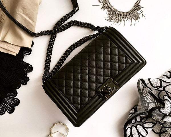 a414748f3300 Chanel | Aged Calfskin So Black Boy Bag | Medium - The-Collectory