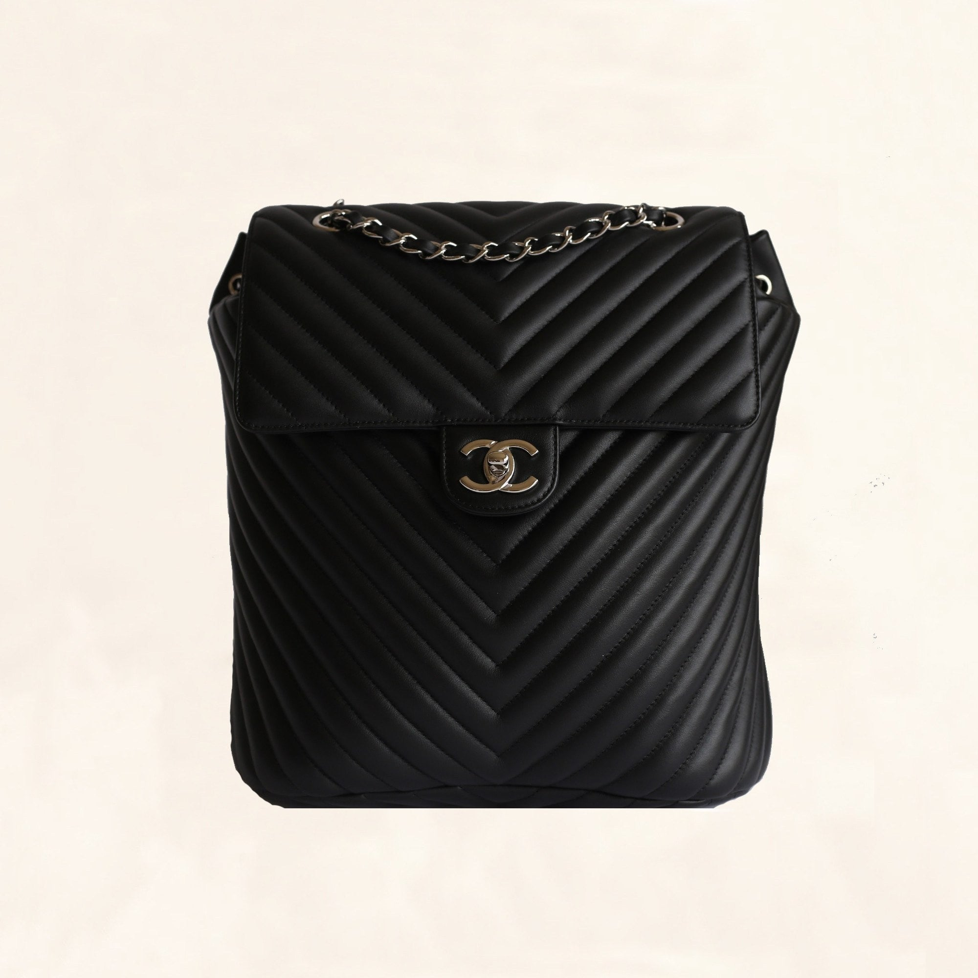 f24c4bc8c79f Chanel | Chevron Urban Spirit Backpack with Silver Hardware | Large -  The-Collectory