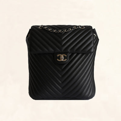Chanel | Chevron Urban Spirit Backpack with Silver Hardware | Large - The-Collectory