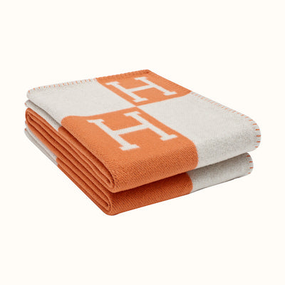 Hermes | Blanket Avalon Signature H Ecru and Potiron Throw Blanket - The-Collectory