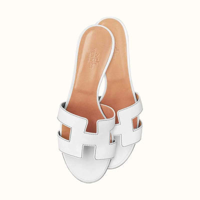 Hermes White Blanc Oasis Sandal - The-Collectory