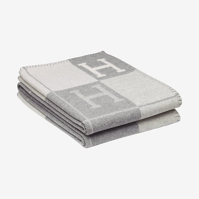 Hermes | Blanket Avalon Signature H Ecru and Gris Clair Throw Blanket - The-Collectory