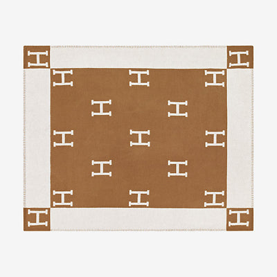 Hermes | Blanket Avalon Signature H Ecru and Camel Throw Blanket - The-Collectory