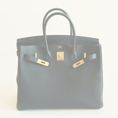 Hermes | Gold & Togo Leather Birkin in Blue Nuit | 35cm - The-Collectory