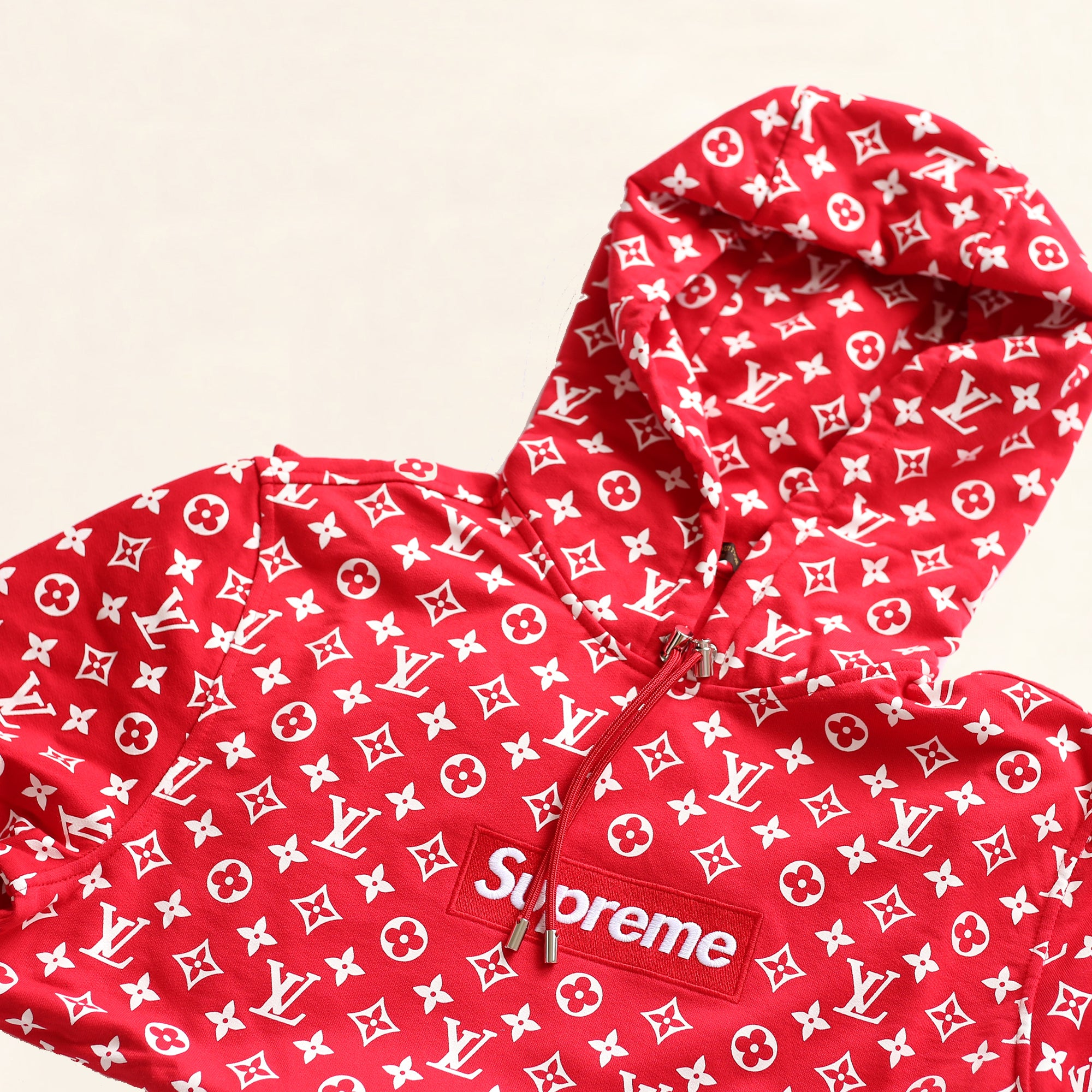 louis vuitton supreme logo box hoodie monogram red the collectory. Black Bedroom Furniture Sets. Home Design Ideas