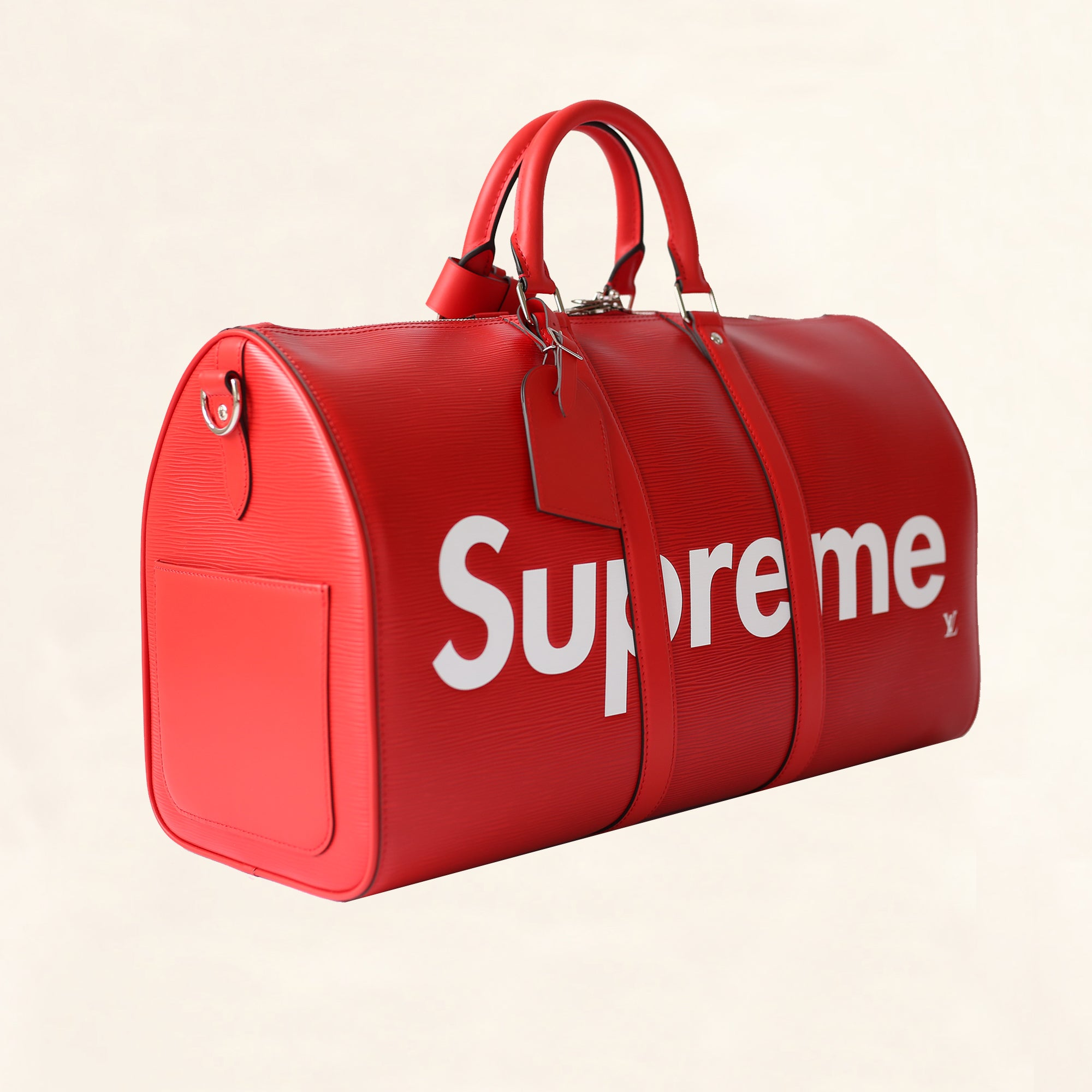 ba6215f177a Louis Vuitton   Supreme Red Epi Keepall Bandouliere Duffle Bag   45 -  The-Collectory