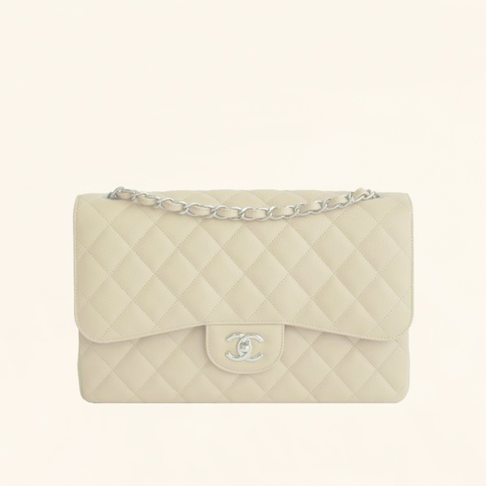 b8755fc96d14 Chanel | Beige Caviar Classic Double Flap Bag | Jumbo - The-Collectory