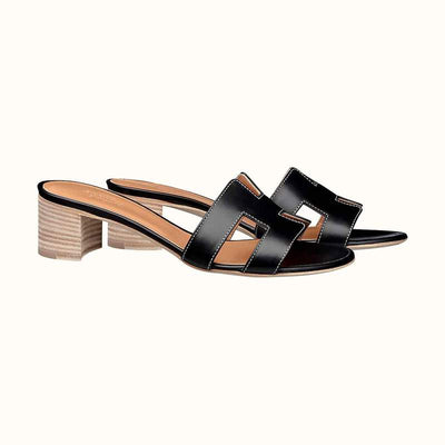 Hermes Black Noir Oasis Sandal - The-Collectory