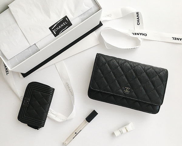 8d7579bfcae9 Chanel   Calfskin Classic So Black Wallet on Chain   WOC - The ...