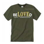 Beloved  Shirts | Bible Verse T Shirts | Army Green T-shirt with White and Gold Text