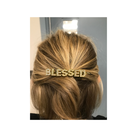 Rhinestone Bobby pins | BLESSED | Gold Rhinestone Hair Pin
