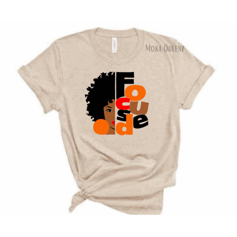 FOCUSED WOMEN'S T-SHIRT | BEIGE T-SHIRT WITH BLACK, BROWN AND ORANGE GRAPHIC