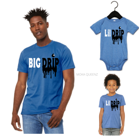 Matching Dad and Son Shirts| Blue T-shirt with black and white text - Moka Queenz