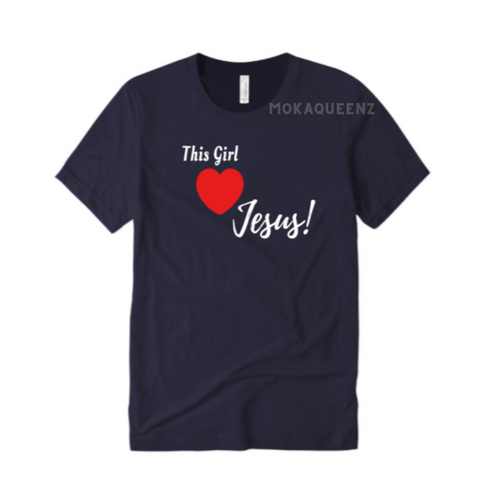Jesus Shirts | This Girl Loves Jesus Christian Shirt for women - Black t shirt with white and red text